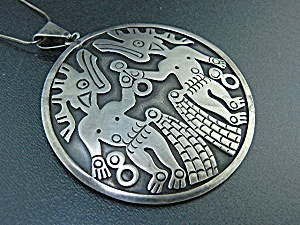 Taxco Mexico Sterling Silver Brooch Necklace Eagle #3