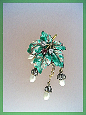 Brooch Gold Silver Pearl Enamel Crystal Pin
