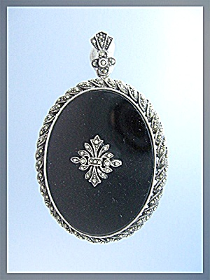 Sterling Silver Marquisite Onyx Antique Brooch Pendant