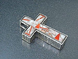 Studio Gl Sterling Silver Coral Mother Pearl Cross
