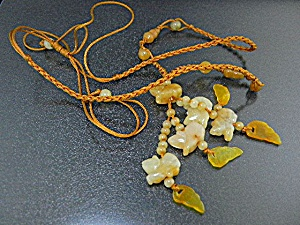 Jade Animals Gold Silk Necklace