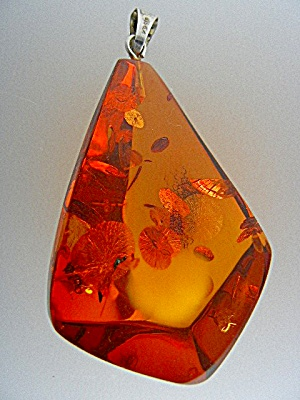 Baltic Amber Sterling Silver Pat Pending Pendant