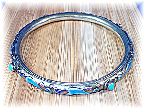 Bracelet Bangle Chinese Silver Blue Enamel Turquoise
