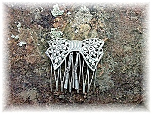 Hair Comb Bow Tassle Antique Silver From Thailand