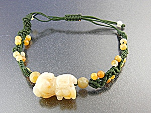 Jade Golden Dog Silk Cord Pull Bracelet Jade Beads