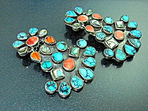 Oscar Betz Sterling Silver Turquoise Abalone Spiny Clip