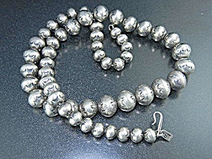 Navajo Sterling Silver Beads Signed Lb (Tim Bedall)