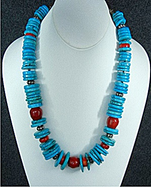 Chinese Turquoise Coral Sterling Silver Toggle Necklace
