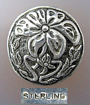 Sterling Silver Antique Flower Brooch