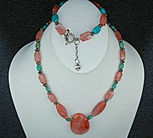 Sterling Silver Rhodocrosite Turquoise Necklace Bracele