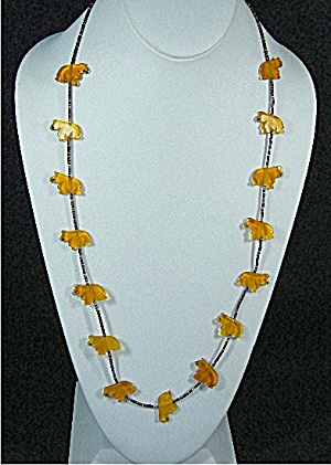 Navajo Heishi And Amber Bears Necklace 29 Inch