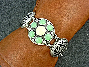 Silver Pewter Cream Turquoise Color Toggle Bracelet