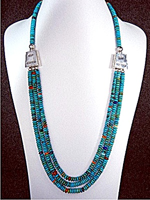 Navajo Turquoise Sterling Silver 3 Strand Necklace