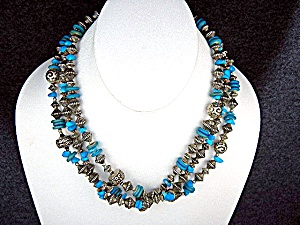 Silver Turquoise 3 Strands Necklace 18 Inch