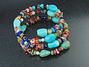Navajo Turquoise Lapis Gaspeite Spiny Oyster Coil Brace