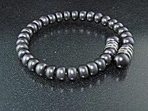 Freshwater Grey Pearls Sterling Silver Coil Bracelet
