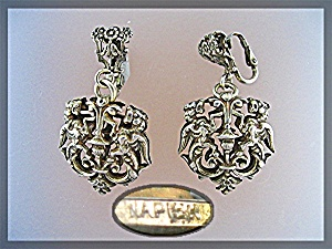 Napier Vintage Filigree Dangle Clip Earrings