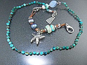 Jess Maharry Sterling Silver Turquoise Pearls Necklace