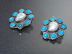 Navajo Sterling Silver Turquoise Pearl Clip Earrings