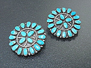 Navajo Sterling Silver Turquoise Clip Earrings Lmb