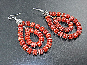 Navajo Sterling Silver Red Spiny Oyster Earrings