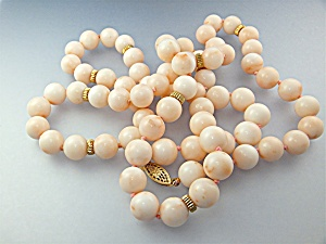 Necklace 14k Gold Clasp Angelskin Coral Beads