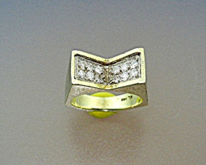 14k Gold With Diamonds Ring Signed Ml