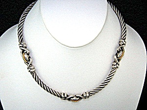 Sterling Silver Flle Menegatti Italy Necklace 14k Gold