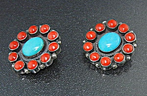 Navajo Kirk Smith Sterling Silver Coral Turquoise Clip