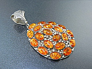 Navajo Baltic Amber Sterling Silver Pendant Ted Joe
