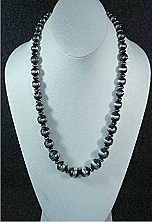 Navajo Pearls Sterling Silver Graduated Necklace Gundi