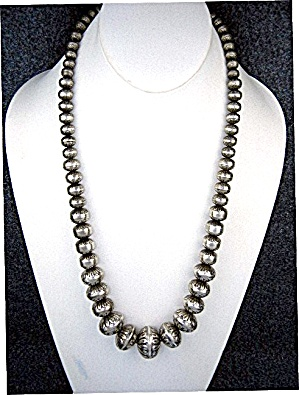 Navajo Sterling Silver Handmade Beads Necklace