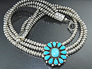 Navajo Sterling Silver Sleeping Beauty 3 Strand Necklac