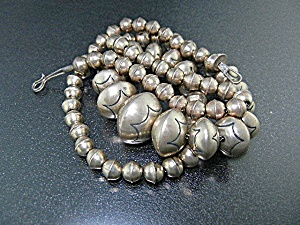Navajo Pearls Sterling Silver Necklace Signed Hl
