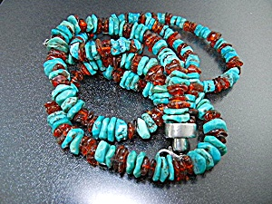 Amber Sterling Silver Kingman Turquoise Necklace