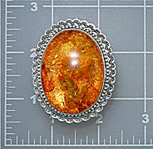 David Troutman Baltic Amber Sterling Silver Ring 98