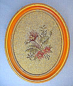 Tapestry Hand Stitched Flowers Framed Picture