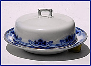 Flow Blue: The Olympic (Idris) Covered Butter Dish