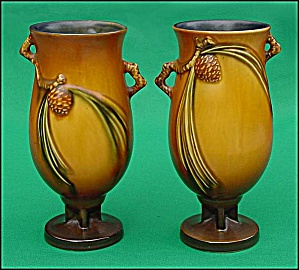 "Pair Of Roseville ""brown Pinecone"" Vases (840-7)"