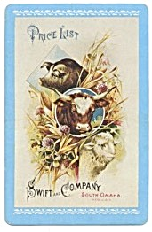 Vintage Swift & Company Farm Animal Playing Cards