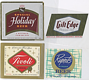 Vintage Beer Labels Set Of 4