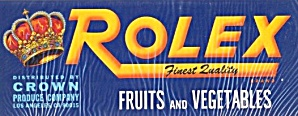 Rolex Fruit And Vegetable Crate Label