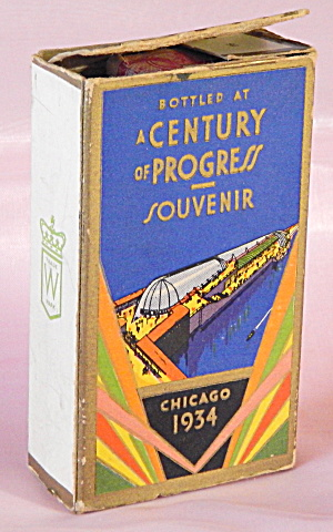 1934 Chicago World's Fair Whisky Bottle In Box