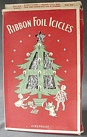 Vintage Ribbon Foil Icicles In Original Box