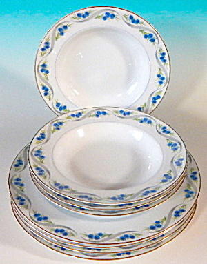 Narumi Blue Button Plates & Bowls Set Of 8