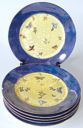 Vintage Luster Butterfly Plates Set Of 6