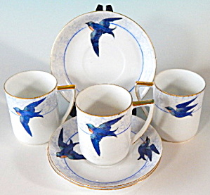 Vintage Swallows/blue Birds Cups And Saucers