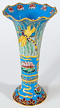 Enamel Dragonfly & Waterlily Vase