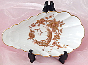 Vintage Shell Shaped Dish With Gold Bird