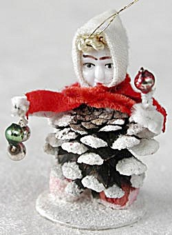 Vintage Pine Cone Elf Girl Dwarf Ornament